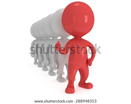 Red Leader showing thumbs up in front of white people row over white background. 3D render. - stock photo