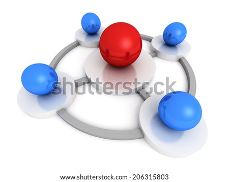 red leader sphere in center connects blue ones. leadership abstract concept 3d render illustration - stock photo