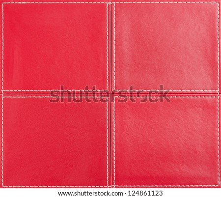 Red leather background from four parts - stock photo