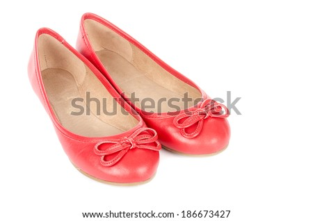 Red Leather Ballet Flats Isolated on White - stock photo