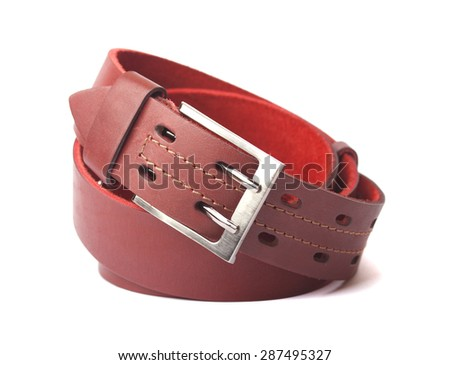 Red leather belt isolated on white background - stock photo