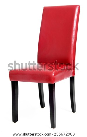 Red Leather Dining Chair with Wooden Legs, Isolated on White Background - stock photo