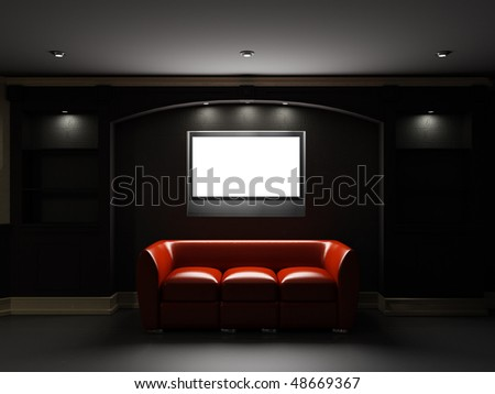 Red leather divan with LCD tv in dark room - stock photo