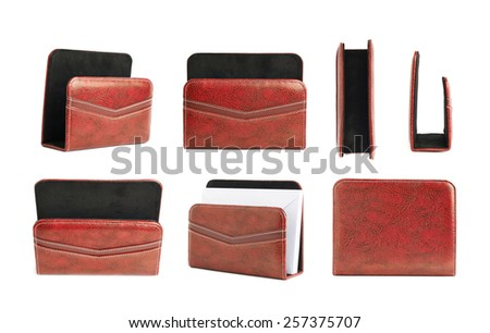 Red leather envelope and paper holder isolated over the white background, set of multiple different foreshortenings - stock photo