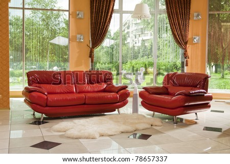 red leather furniture. see more on my page - stock photo