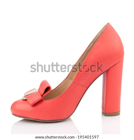 Red  leather  high heel women shoe isolated on white background.Please, look for more photos like this in my sets. - stock photo