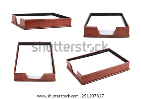 Red leather office paper holder box isolated over the white background, set of four different foreshortenings - stock photo
