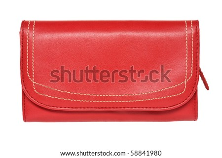 red leather purse - stock photo