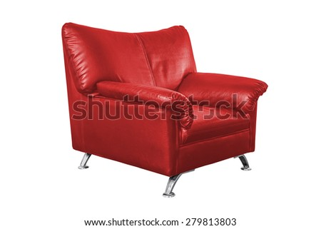 Red leather sofa isolated on white background, work with path. - stock photo