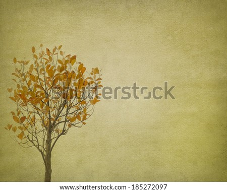 red leaves tree with old grunge antique paper texture - stock photo