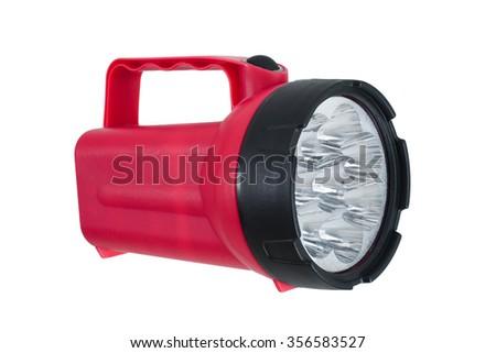 Red LED flashlight on white - stock photo