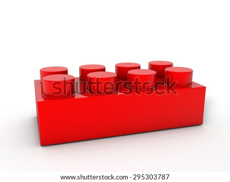 Red lego block on a white backgrond. - stock photo