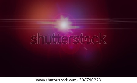Red lens flare photo effect. Bursting flash blurry star on magenta hues - stock photo