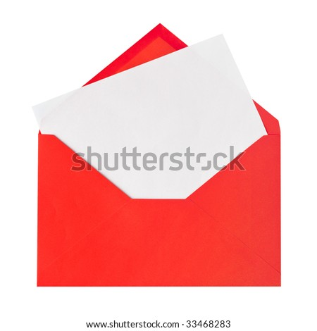 Red letter isolated on white background - stock photo