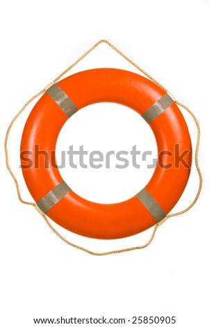 Red life buoy hung on invisible pin isolated over white - stock photo