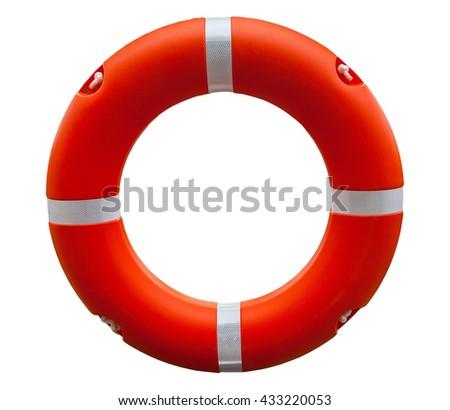 Red lifebuoy isolated on white background - stock photo