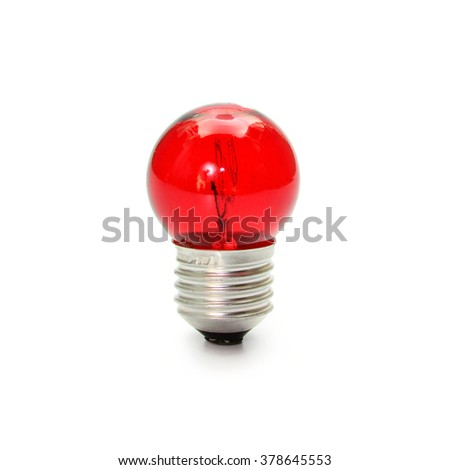 red light bulb isolated on white background - stock photo