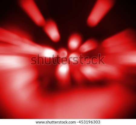 red Light festive background. Elegant abstract background with bokeh defocused lights.  zoom motion move speed - stock photo