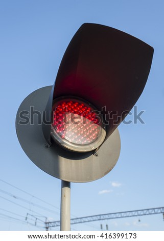 red light semaphore on railway crossing - stock photo