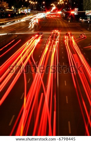 Red Light trails - stock photo