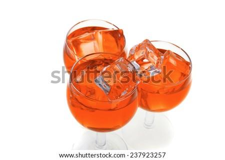 red light wine goblet on white background - stock photo