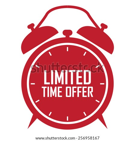red limited time offer on alarm clock sticker, badge, icon, stamp, label, banner, sign isolated on white - stock photo
