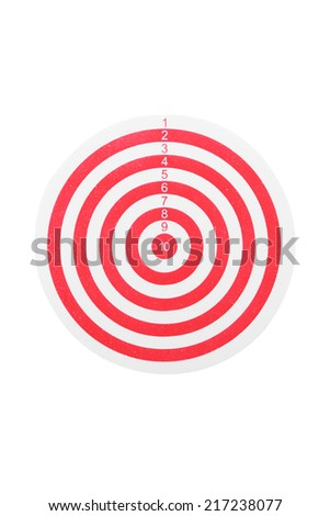 red line dart board isolated on white background with clipping path - stock photo
