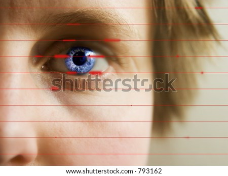 Red lines scanning the face and retina of a woman. - stock photo