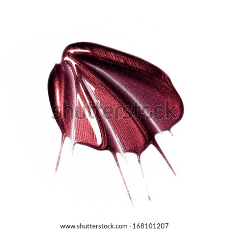 Red lip gloss samples isolated on white  - stock photo