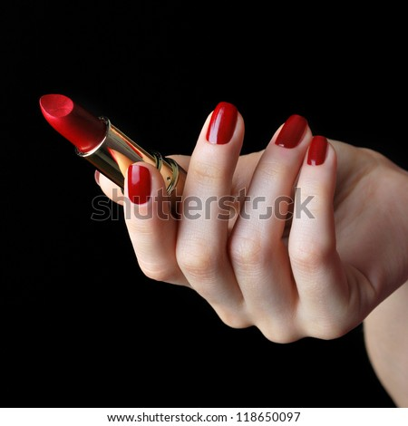 Red lipstick - stock photo