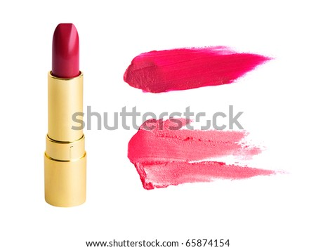 Red lipstick in gold tube and smudged samples isolated on white - stock photo