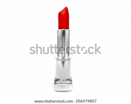 Red lipstick isolated on white background cosmetics makeup make up - stock photo