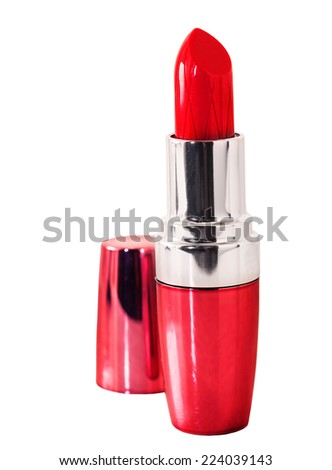 Red lipstick  over white background - stock photo