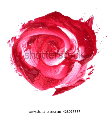 red lipstick shimmer smudged look like a rose shape - stock photo