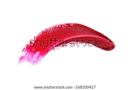 Red Lipstick Smear isolated on white  - stock photo