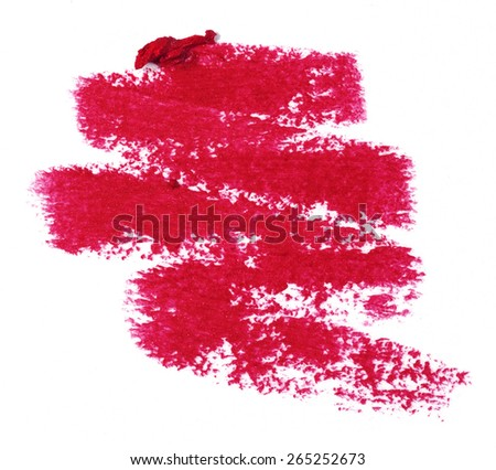 red lipstick trace over white background - stock photo