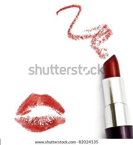 Red lipstick with a kiss on white background - stock photo