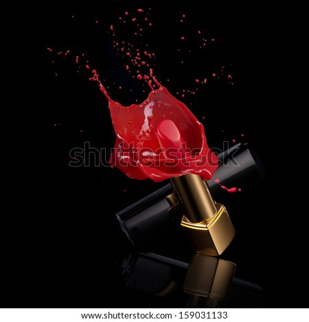 red lipstick with splash of paint isolated on black - stock photo