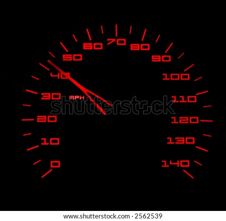 Red lit car speedometer against black background - stock photo