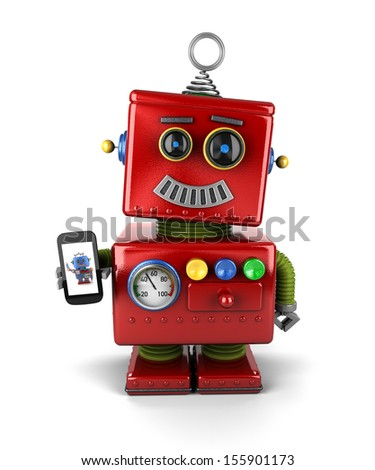Red, little vintage toy robot with smartphone, smiling over white background. - stock photo