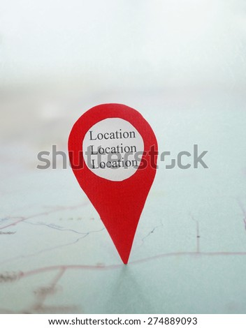 Red locator symbol on a map with Location Location Location label                             - stock photo