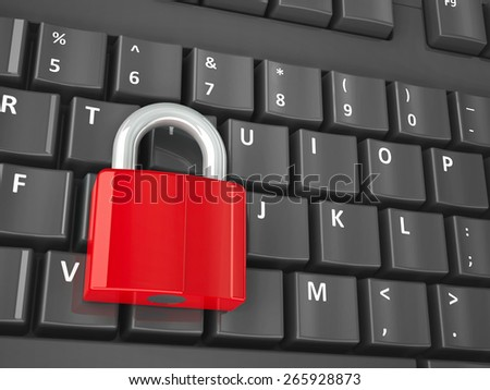Red lock on the computer keyboard, three-dimensional rendering - stock photo