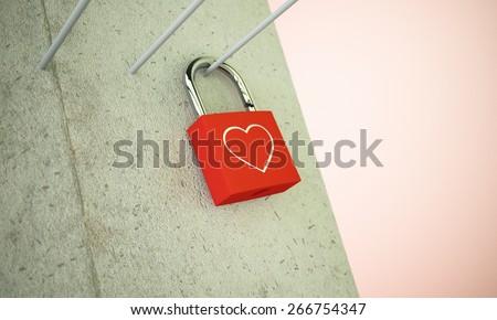 Red locker with heart shape  - stock photo
