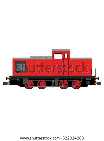 Red locomotive raster, old locomotive, transportation, children toy locomotive - stock photo