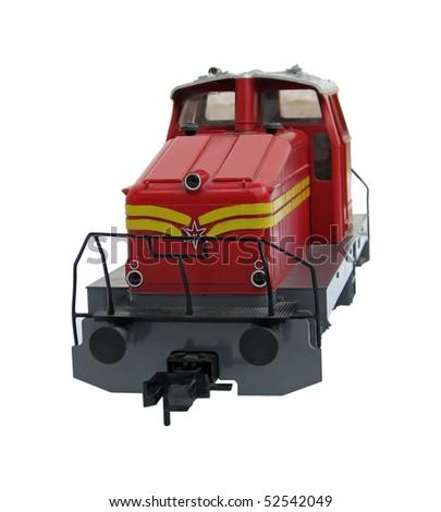 red locomotive. red train locomotive. - stock photo