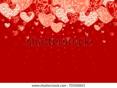 Red love background (raster version) - stock photo