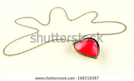 Red love heart shaped gemstone necklace over white - stock photo