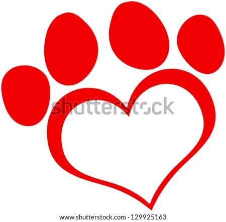 Red Love Paw Print. Raster Illustration.Vector - stock photo