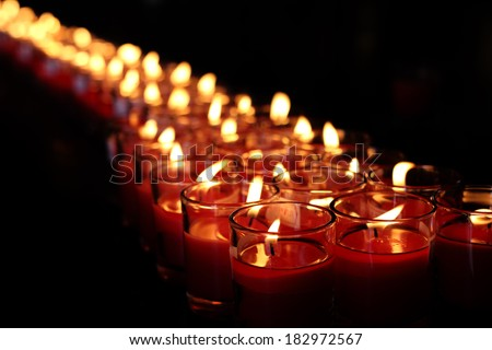 red lucky candles for prayers - stock photo