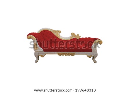 red Luxurious sofa isolated on white background - stock photo